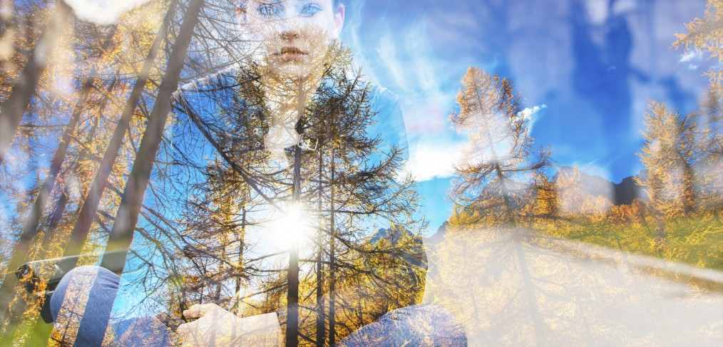 Double exposure of girl and autumn landscape