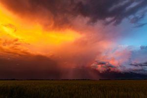 Weather. Spectacular sunset colours on storm clouds in US Mid-West Tornado Alley.  Horizontal, copy space.
