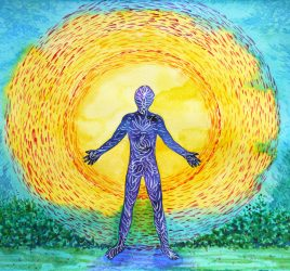 Large-Souled. A painting of a large-souled person with an aura around them.
