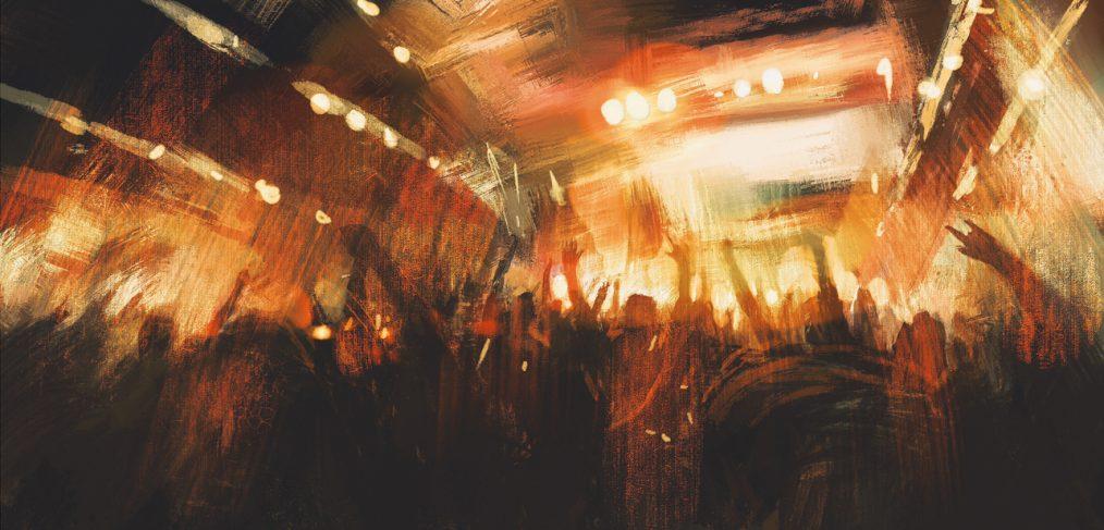 Rock. Band at a fun crowded club.